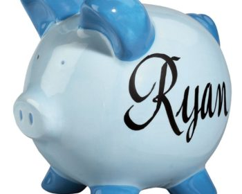 Personalized piggy bank for boys