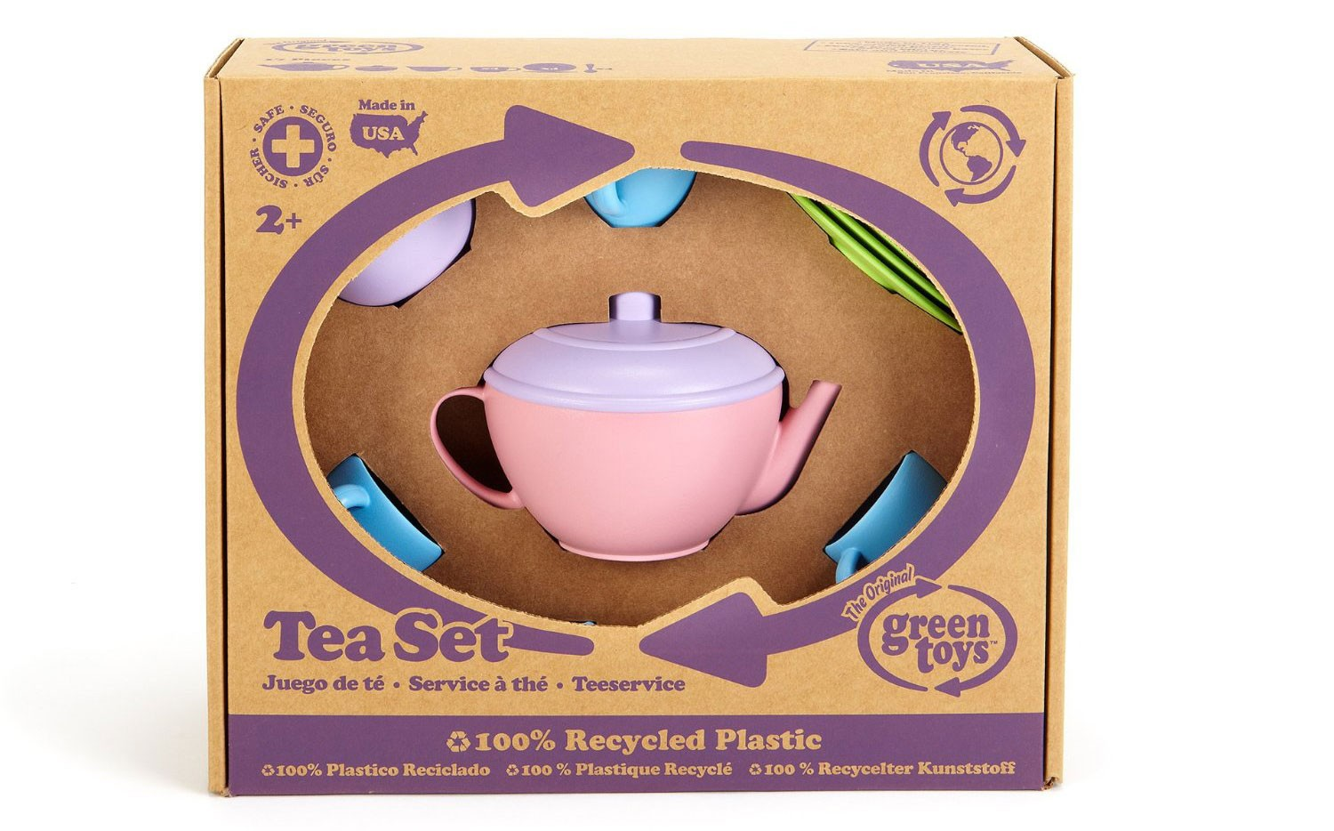toy tea set packaged in cardboard