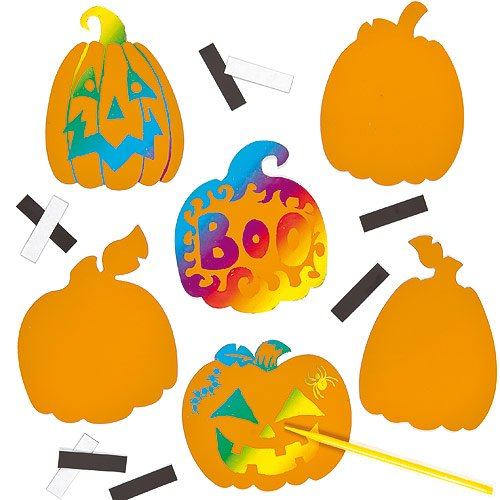7 Halloween Craft Kits For Kids: Pumpkin Scratch Art Magnets